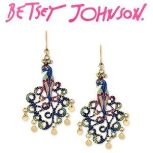 Betsey Johnson Enameled Peacock Dangle Earrings.